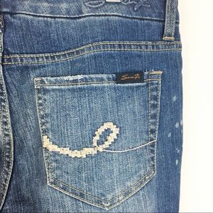 Seven7 Embroidered Pocket Ankle Zipper Jeans 6